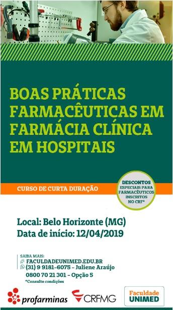 Curso de Boas práticas farmacêuticas em Farmácia Clinica em hospitais